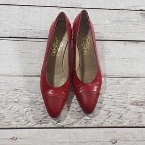 Salvatore Ferragamo womens red heels size 8